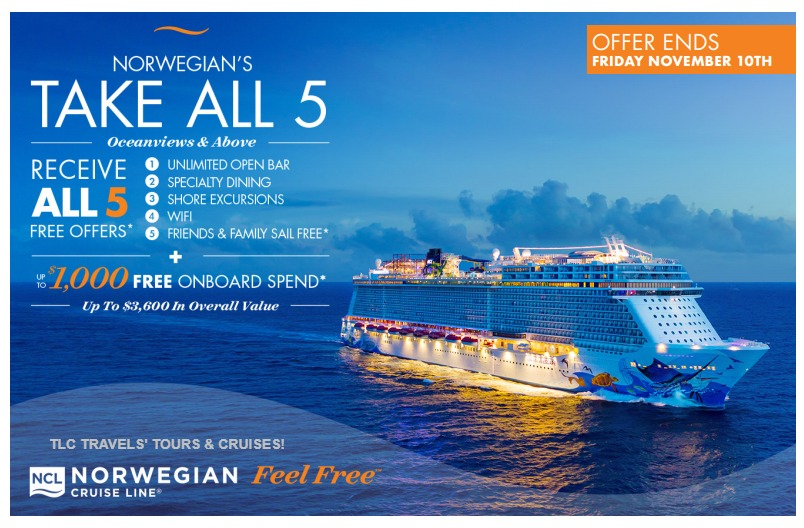 Don't Miss Norwegian Cruise Line's Limited-timed Offer!